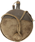 """Military & Patriotic:Civil War, Complete Montgomery Patent Canteen with """"Funnel"""" Top. Patented by J. A. Montgomery on September 24, 1861 this oblate spheroi..."""