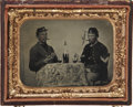 Military & Patriotic:Civil War, Horizontal Civil War 1/4 Plate Tintype of Two Federal Soldiers Enjoying a Card Game and Whiskey, both Smoking Cigars. Man se...