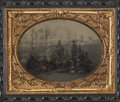 Military & Patriotic:Civil War, Remarkable Horizontal 1/4 Plate Tintype View of Eight Federal Soldiers Preparing a Meal in the Field....