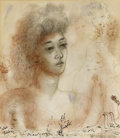 Fine Art - Work on Paper:Watercolor, REUVEN RUBIN (Israeli, 1893-1974). Reverie - Study of aWoman, circa 1930s. Ink, graphite, and watercolor on paper. ...