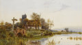 Fine Art - Work on Paper:Watercolor, WALTER STUART LLOYD (British, 1845-1959). Cottage Along theRiver. Watercolor on paper. 18-7/8 x 34-5/8 inches (48 x 88 ...