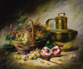 Fine Art - Painting, European:Antique  (Pre 1900), ALFRED ARTHUR BRUNEL DE NEUVILLE (French, 1852-1941). Still Lifewith Basket of Grapes, Peaches, and a Copper Urn. Oil o...