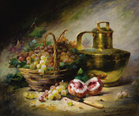 ALFRED ARTHUR BRUNEL DE NEUVILLE (French, 1852-1941) Still Life with Basket of Grapes, Peaches, and a Copper Ur
