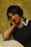 Fine Art - Painting, European:Modern  (1900 1949)  , PEDER MORK MONSTED (Danish, 1859-1941). Portrait of a Young Girl, 1914. Oil on canvas. 17 x 11-1/2 inches (43.2 x 29.2 c...