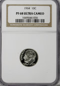 Proof Roosevelt Dimes: , 1964 10C PR68 Ultra Cameo NGC. NGC Census: (279/144). PCGSPopulation (312/262). Numismedia Wsl. Price for NGC/PCGS coin i...