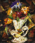 Fine Art - Painting, American:Modern  (1900 1949)  , FRANK RYAN (American, 1920-1993). Floral Still Life. Oil onmasonite. 13 x 11 inches (33.0 x 27.9 cm). Signed lower left...