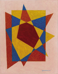 EMIL JAMES BISTTRAM (American, 1895-1976) Abstract, 1944 Encaustic on paper 14 x 11 inches (35.6