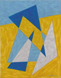 EMIL JAMES BISTTRAM (American, 1895-1976) Abstract, 1943 Encaustic on paper 14 x 11 inches (35.6