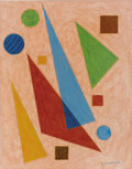 Fine Art - Work on Paper:Drawing, EMIL JAMES BISTTRAM (American, 1895-1976). Abstract, 1944.Encaustic on paper. 14 x 11 inches (35.6 x 27.9 cm). Signed a...