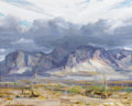 Fine Art - Painting, American:Contemporary   (1950 to present)  , JAY HALL CONNAWAY (American, 1893-1970). Storm Over Superstition Mt. Arizona, 1962. Oil on board. 16 x 20 inches (40.6 x...
