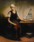 Fine Art - Painting, European:Modern  (1900 1949)  , FIRMIN BAES (Belgian, 1874-1943). Woman with RedHandkerchief. Pastel on canvas. 26 x 21 inches (66.0 x 53.3cm). Signed...