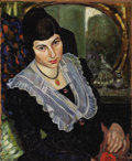 Fine Art - Painting, Russian, IVAN ZAKHAROV (1888-1969). Portrait of Natalya Agapova, theartist's wife, circa 1910. Oil on masonite. 31 x 25-1/2 inch...