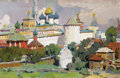 Fine Art - Painting, Russian:Contemporary (1950 to present), VICTOR P. KUDRIN (Russian, b. 1925). In Zagorsk, 1953. Oilon canvas. 20 x 31 inches (50.8 x 78.7 cm). Inscribed verso i...