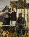 Fine Art - Painting, Russian:Contemporary (1950 to present), ANATOLY LOBKO (Russian, 20th Century). Villagers, 1986. Oil on canvas. 85 x 67 inches (215.9 x 170.2 cm). Signed and dat...