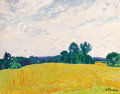 Paintings, NIKOLAI EFIMOVICH TIMKOV (Russian, 1912-1933). Fields of Gold, 1963. Oil on board. 15-1/2 x 19-1/2 inches (39.4 x 49.5 c...