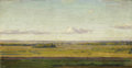 Fine Art - Painting, Russian:Modern (1900-1949), IVAN GOROKHOV (Russian, 20th Century). Distant Landscape atEvening. Oil on board. 6 x 11-3/4 inches (15.2 x 29.8 cm). I...