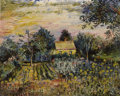 Fine Art - Painting, Russian:Modern (1900-1949), DAVID DAVIDOVICH BURLIUK (Russian/American, 1882-1967). Gardenwith Cottage. Oil on canvas. 16 x 20-1/4 inches (40.6 x 5...