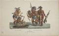 """Antiques:Posters & Prints, James Otto Lewis Print: The Pipe Dance and The Tomahawk Dance of the Chippeway tribe. Hand colored, 19"""" x 11.5"""". Pai..."""