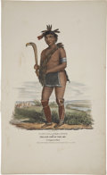 """Antiques:Posters & Prints, James Otto Lewis Print: NABU-NAA-KEE-SHICK, or the One Side ofthe Sky: A Chippewa Chief. Hand colored, 11.50"""" x 19""""..."""