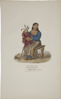 Antiques:Posters & Prints, James Otto Lewis Print: TA-MA-KAKE-TOKE or the WOMAN THAT SPOKEFIRST: A Chippeway Squaw. (mourning). Ha...
