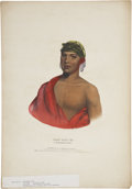 "Antiques:Posters & Prints, Thomas McKenney and James Hall Print: PEAH-MUS-KA: A MUSQUAKEECHIEF. Hand colored, 14.5"" x 21"". Published by F...."