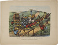 """Antiques:Posters & Prints, Currier & Ives, Series No. 11, """"The Darktown Fire Brigade - All on their Mettle."""" Color lithography, 18.25"""" x 14"""". Published..."""