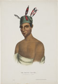 "Antiques:Posters & Prints, Thomas McKenney and James Hall Print: WA-KAUN-HA-KA, A Winnebago Chief. Hand colored, 7.25"" x 10.5"". Published by R..."