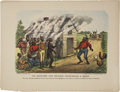 """Antiques:Posters & Prints, Currier & Ives, Series No. 13, """"The Darktown Fire Brigade -Investigating a Smoke."""" Color lithography, 18.25"""" x 14"""". Publish..."""
