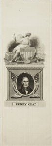"""Political:Ribbons & Badges, Henry Clay: Beautiful """"Champion of the American System"""" Campaign Ribbon...."""