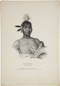 Antiques:Posters & Prints, Thomas McKenney and James Hall Print: MOA-NA-HON-GA, An IowayChief....