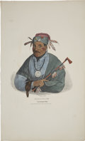"""Antiques:Posters & Prints, James Otto Lewis Print: CHAT-O-NIS-SEE: A PottowattomieChief. Hand colored, 11.50"""" x 19"""". Painted """"at the treaty of..."""