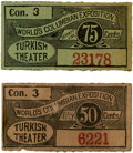 General Historic Events:World Fairs, World's Columbian Exposition: Two Turkish Theater ConcessionTickets.... (Total: 2 Items)