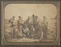 "Military & Patriotic:Civil War, Great Early War 9"" x 7"" Albumen View of a Group of Soldiers from Company A, 6th Maine Volunteer Militia. The unit is promine..."