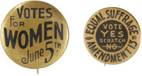 Woman's Suffrage: Two Local Votes for Women Pins