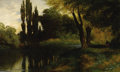 Fine Art - Painting, American:Antique  (Pre 1900), JOHN ROSS KEY (American, 1832-1920). Afternoon on the Lake.Oil on canvas. 11 x 18 inches (27.9 x 45.7 cm). Signed lower...