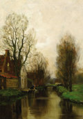 Fine Art - Painting, European:Modern  (1900 1949)  , CHARLES PAUL GRUPPE (American, 1860-1940). A Quiet Morning atVoorburg. Oil on canvas. 18 x 13 inches (45.7 x 33.0 cm). ...