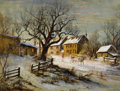 Fine Art - Painting, European, CARL WEBER (American, 1850-1921). Winter Village Scene.Watercolor and ink on paper laid on board. 13-1/2 x 18 inches (3...