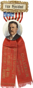 Political:Ribbons & Badges, Theodore Roosevelt: Stunning 1910 Missouri Republican's Badge....