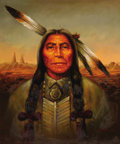 Western:20th Century, KENNETH SU (American, 20th Century). Portrait of an Indian.Oil on canvas. 24 x 20 inches (61.0 x 50.8 cm). Signed lower...