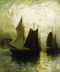Fine Art - Painting, American:Modern  (1900 1949)  , PAUL BERNARD KING (American, 1867-1947). Harbor Scene. Oilon masonite. 30 x 25 inches (76.2 x 63.5 cm). Signed lower ri...