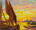Fine Art - Painting, American:Modern  (1900 1949)  , WILLIAM SAMUEL HORTON (American, 1865-1936). Lido VeniceSunset, circa 1920. Oil on board. 15 x 18-1/4 inches (38.1 x46...