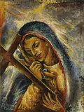 Miscellaneous, FEDERICO CANTÚ (Mexican, 1908-1989). Virgin Mary, 1946. Oil on canvas laid on board. 8 x 6 inches (20.3 x 15.2 cm). Sign...