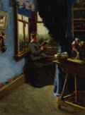 Fine Art - Painting, American:Modern  (1900 1949)  , E. AMBROSE WEBSTER (American, 1869-1935). The Blue Room. Oilon canvas. 12 x 9 inches (30.5 x 22.9 cm). Initialed lower ...