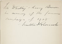 Franklin D. Roosevelt: Signed and Inscribed First Edition The Happy Warrior: A