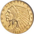 Indian Quarter Eagles, 1911-D $2 1/2 MS65 NGC. CAC....