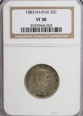 Coins of Hawaii, 1883 25C Hawaii Quarter VF30 NGC. NGC Census: (2/748). PCGSPopulation (7/1345). Mintage: 500,000. (#10987)...
