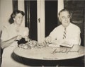 "Autographs:U.S. Presidents, Franklin D. and Eleanor Roosevelt: Signed 1941 Christmas Photo..-Christmas 1941. 10"" x 8"", matted in 14"" x 13.5"" folder.. -..."