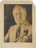 "Autographs:U.S. Presidents, Franklin D. Roosevelt: Signed Oversized Sepia Portrait.. -1930s.14"" x 18"".. -Top corners missing, creases and tears top hal..."