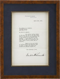 Autographs:U.S. Presidents, Franklin D. Roosevelt: Typed Letter Signed Only Twelve Days afterTaking the Presidential Oath of Office.. -March 16, 1933. ...