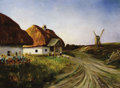 Fine Art - Painting, Russian:Modern (1900-1949), N. VASILIEV (20th Century). Thatch Farm Houses and Windmill,1904. Oil on canvas. 31 x 41-1/2 inches (78.7 x 105.4 cm). ...